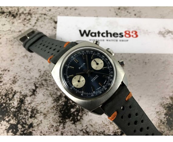 AVIA Reloj suizo vintage cronógrafo de cuerda Landeron 248 ESPECTACULAR *** DIAL AZUL ***