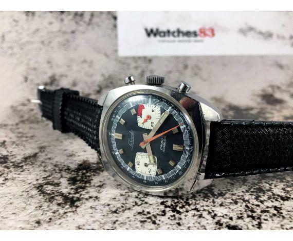 LORANDO Reloj suizo Vintage cronógrafo de cuerda Cal. Valjoux 7733 DIAL AZUL *** RACING ***