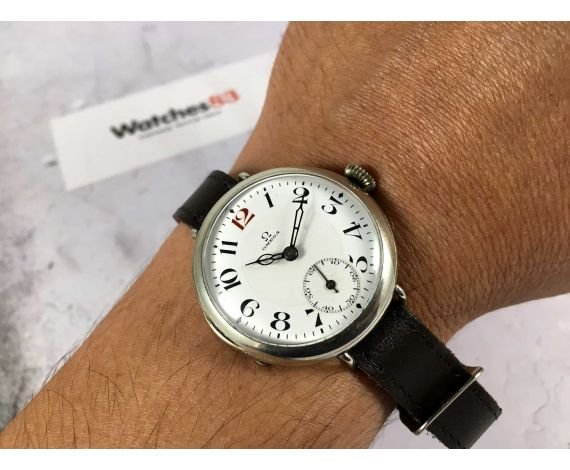Omega 1916 Reloj vintage de cuerda suizo militar de trinchera dial de porcelana OVERSIZE Plata *** COLECCIONISTAS ***