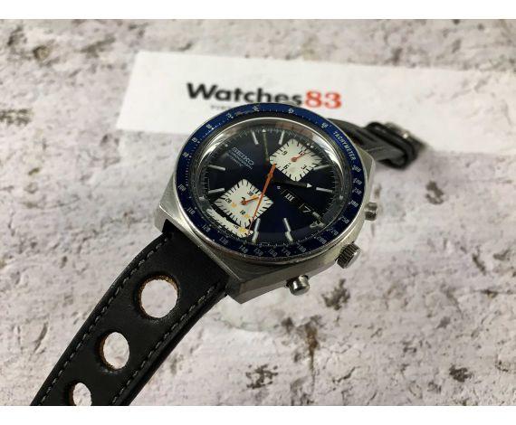 SEIKO KAKUME Crono Reloj cronógrafo vintage automático Cal. 6138-B Ref. 6138-0030 GRAN DIÁMETRO *** DIAL AZUL ESPECTACULAR ***