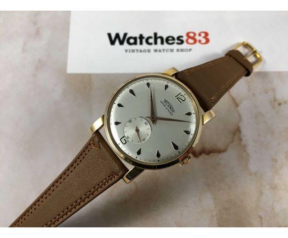 NOS TECHNOS reloj suizo antiguo de cuerda Cal. AS 1486 GRAN DIÁMETRO Plaqué or *** NUEVO DE ANTIGUO STOCK ***