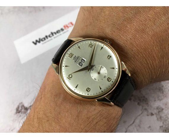FORTIS CALENDAR Reloj suizo antiguo de cuerda GRAN TAMAÑO PLAQUÉ OR Cal. Venus 162 ESPECTACULAR *** CALENDARIO GRANDE ***