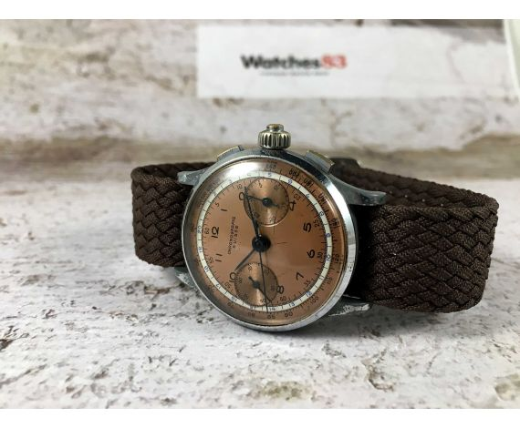 CHRONOGRAPHE SUISSE Vintage swiss hand wind chronograph watch Landeron 47 paved hands SPECTACULAR DIAL *** 3 PUSHERS ***