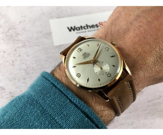 NOS FORTIS Reloj suizo antiguo de cuerda plaqué or Cal ETA 1120 OVERSIZE Crosshair dial ESPECTACULAR *** NUEVO ANTIGUO STOCK ***