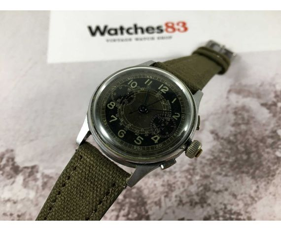 ANÓNIMO MILITARY Reloj cronógrafo suizo antiguo de cuerda 3 PULSADORES Cal. Landeron 47 *** PÁTINA DIAL ESPECTACULAR ***