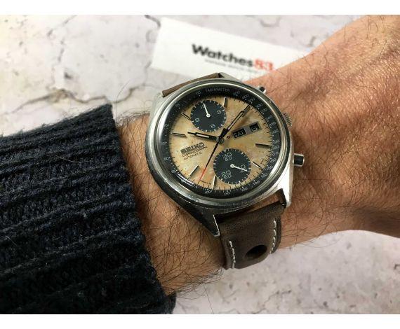 SEIKO PANDA Reloj cronógrafo antiguo automático Ref. 6138-8020 Cal. 6138-B PÁTINA ESPECTACULAR *** DIAL TROPICALIZADO ***