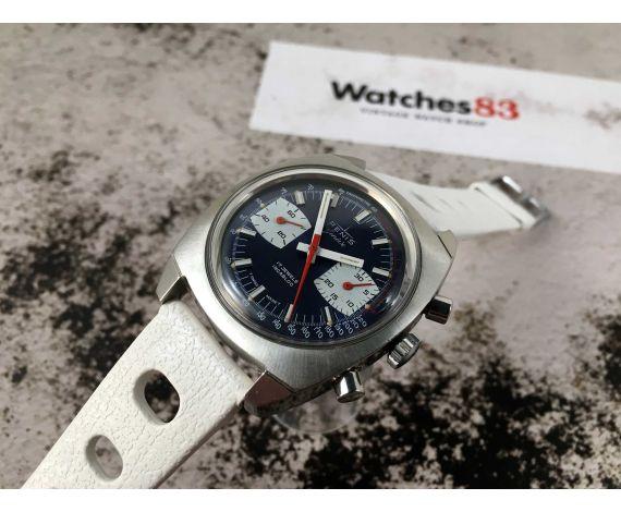 RENIS GENÈVE Reloj suizo cronógrafo antiguo de cuerda Valjoux 7733 RACING STYLE *** DIAL AZUL ***