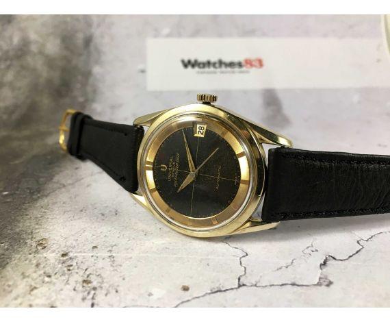 UNIVERSAL GENEVE POLEROUTER DATE Reloj suizo antiguo automático Cal 218-2 MICROTOR 28 j. ESPECTACULAR *** DIAL TROPICALIZADO ***