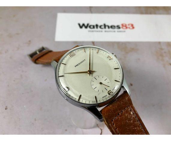 NOS PRESIDENT Ref. 14621 Reloj vintage suizo de cuerda GRAN DIÁMETRO Cal. Unitas 600 *** NUEVO DE ANTIGUO STOCK ***