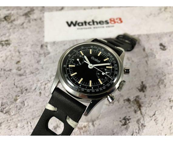 GALLET Chronograph Vintage manual wind watch Landeron 149 Black dial AVIATOR *** COLLECTORS ***