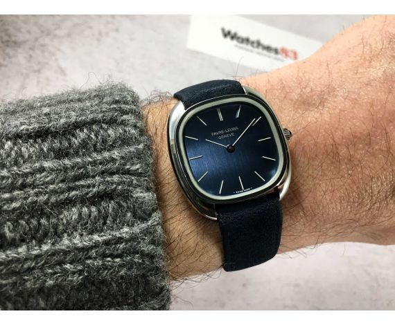 NOS FAVRE LEUBA GENÈVE Reloj suizo antiguo de cuerda Cal. P 7001 DIAL AZUL *** NUEVO ANTIGUO STOCK ***