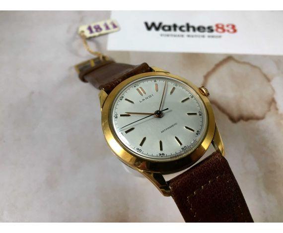 NOS LANDI Reloj suizo vintage de cuerda Plaqué OR GRAN DIÁMETRO *** NUEVO DE ANTIGUO STOCK ***