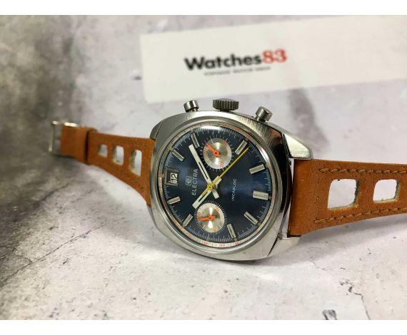 ELECTRA Reloj suizo cronógrafo antiguo de cuerda Valjoux 7734 CALENDARIO INVERTIDO *** DIAL AZUL ELÉCTRICO ***