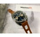 ELECTRA Vintage swiss hand winding chronograph watch Valjoux 7734 INVERTED CALENDAR *** ELECTRIC BLUE DIAL ***