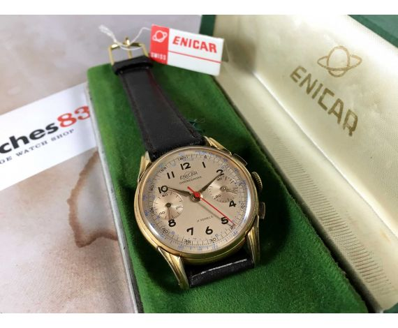 ENICAR Vintage Chronograph swiss hand winding watch Cal. Venus 188 + ORIGINAL BOX *** COLLECTORS ***