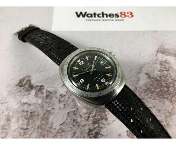 LONGINES ADMIRAL 5 STAR Ref. 501-1002 reloj suizo Vintage automático Cal. 505 DIVER Corona roscada *** BLACK DIAL ***