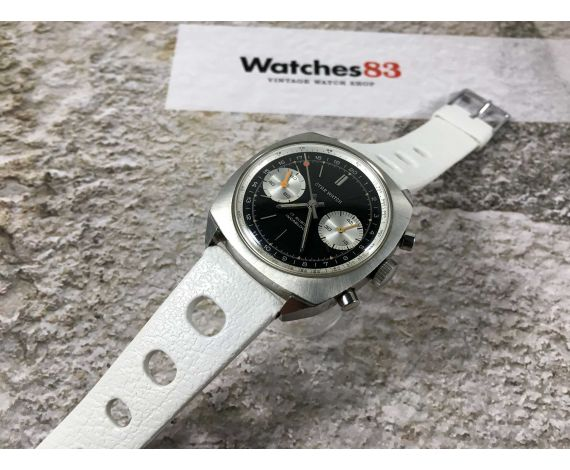 OTAR WATCH Vintage chronograph hand wind watch ALMOST NOS Cal. Valjoux 7730 LOLLIPOP 5 ATM *** PANDA REVERSE ***