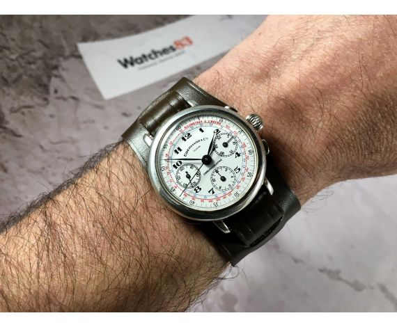 EBERHARD & Co Ref. 36008 Reloj cronógrafo suizo antiguo de cuerda Cal. Lemania 1873 ARGENT STERLING 925 *** TRICOMPAX ***