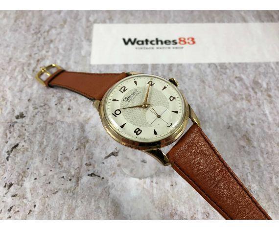 BUMAX Reloj suizo antiguo de cuerda bañado en oro Cal. Landeron 501 Dial texturizado ESPECTACULAR *** GRAN DIÁMETRO ***