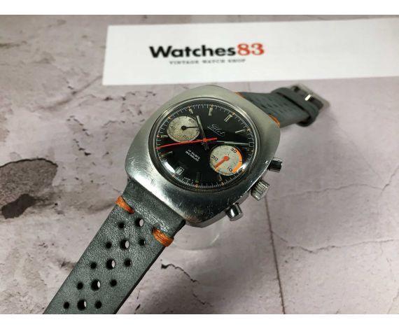 PILOT Reloj cronógrafo suizo antiguo de cuerda Cal. Valjoux 7734 PILOT DIAL MANECILLA NARANJA oversize *** PANDA REVERSE ***
