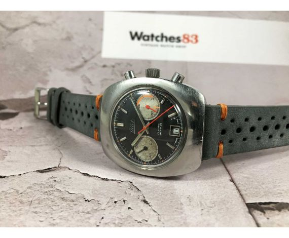 PILOT Chronograph Swiss Vintage manual wind watch Cal. Valjoux 7734 PILOT DIAL ORANGE HAND oversize *** PANDA REVERSE ***