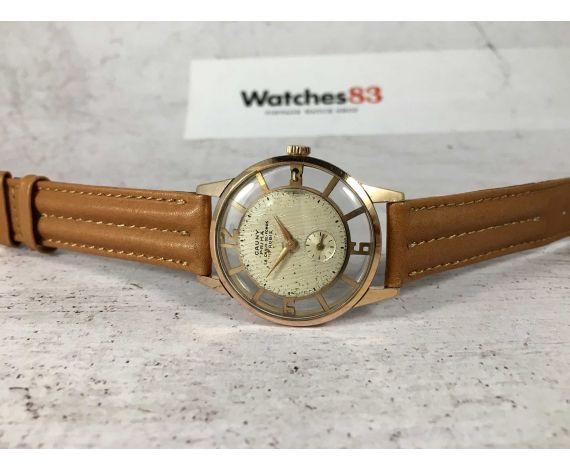 CAUNY SKELETON Reloj antiguo suizo de cuerda Cal. 40 DIAL TEXTURIZADO plaqué or *** RAREZA ***