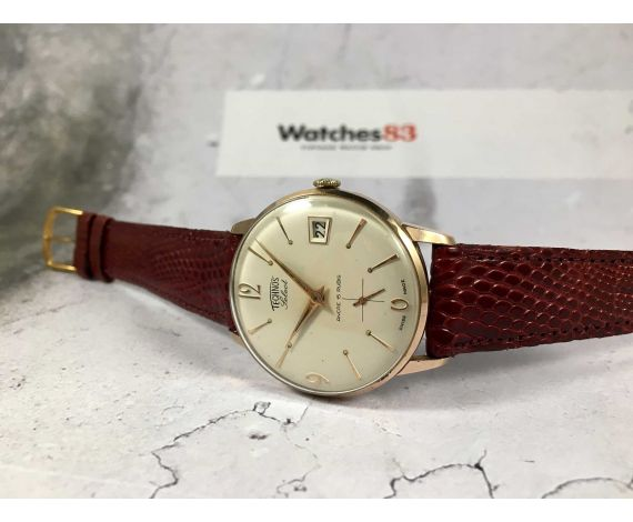 TECHNOS SELECT Vintage swiss hand winding watch Cal. UNITAS 6410 ELEGANT plaque or *** MINT DIAL ***
