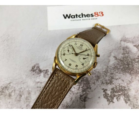 SINEX GENEVE CHRONOGRAPHE SUISSE Reloj cronógrafo suizo vintage de cuerda Cal. Landeron 48 PLAQUÉ OR *** GRAN DIÁMETRO ***