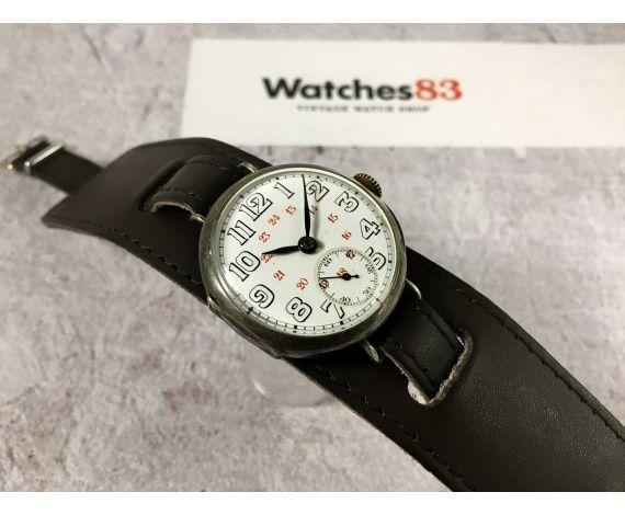CYMA WWA Reloj suizo antiguo de cuerda PLATA 0,935 MILITAR Dial Porcelana *** TRENCH WATCH ***