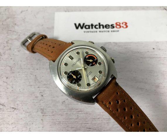 VILONG Reloj suizo cronógrafo vintage de cuerda Cal. Valjoux 7734 GRAN DIÁMETRO 17 JEWELS *** DIAL ESPECTACULAR ***