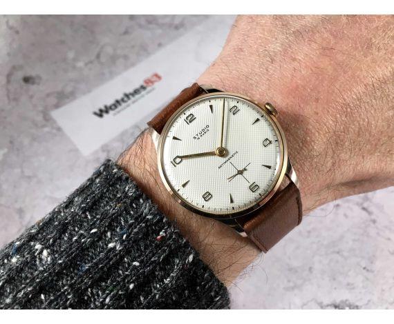 NOS STUDIO Reloj Vintage suizo de cuerda Plaqué OR Cal. Vulcain 590 ESPECTACULAR DIAL TEXTURIZADO Oversize *** NEW OLD STOCK ***