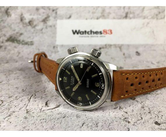 TITAN Reloj suizo antiguo automático dial negro 25 jewels Cal. AS 1700-01 DIVER bisel interno *** SUPER COMPRESOR ***