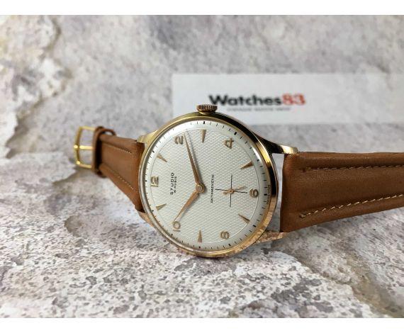 NOS STUDIO Reloj Vintage suizo de cuerda Plaqué OR Cal. Vulcain 590 DIAL TEXTURIZADO. Oversize *** NUEVO DE ANTIGUO STOCK ***