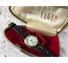 ELGIN Vintage hand winding wristwatch plaqué OR + BOX *** PORCELAIN DIAL ***