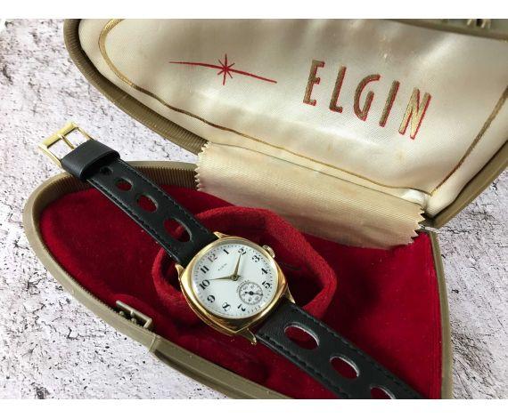 ELGIN Reloj muy antiguo de cuerda plaqué OR + ESTUCHE *** DIAL DE PORCELANA ***