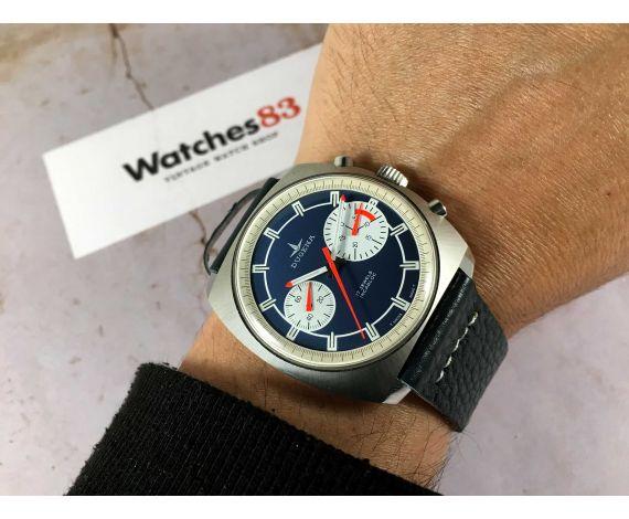 BIG EYE DUGENA Reloj suizo cronógrafo antiguo de cuerda Cal Valjoux 7733 OVERSIZE *** MINT ***