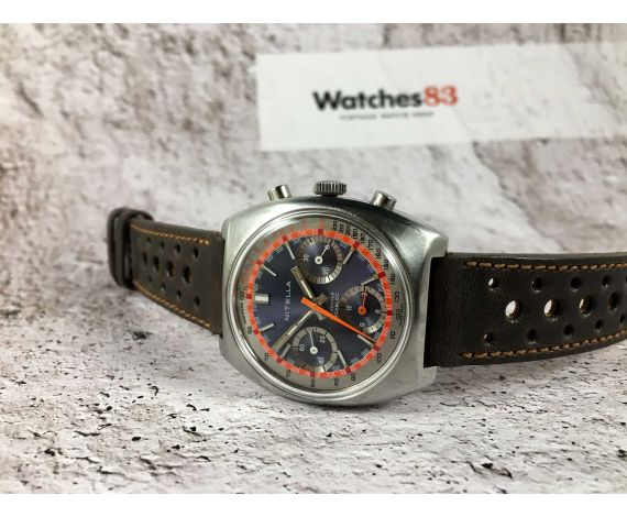 NITELLA Racing Style Vintage swiss hand winding chronograph watch triple register Cal Valjoux 7736 *** SPECTACULAR ***