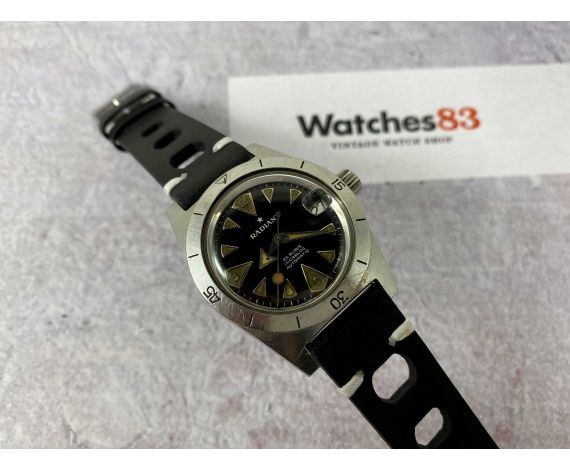 RADIANT DIVER Vintage swiss automatic watch Cal. Felsa 4007 10 ATMOS Broad Arrow *** DIAL SHARK TEETH ***