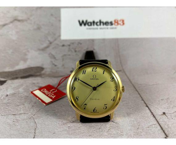 NOS OMEGA Geneve Reloj suizo antiguo de cuerda Ref 131.021 Cal 601 SOLID GOLD 18K *** NUEVO DE ANTIGUO STOCK ***