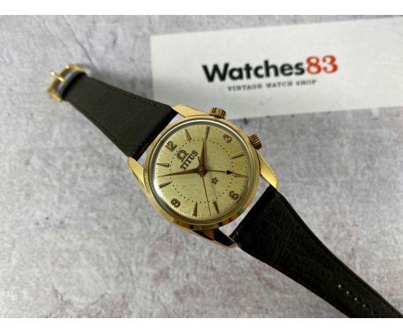 TITUS Reloj alarma vintage suizo antiguo de cuerda Cal. AS 1475 Ref 5898 Gold plated 20 Microns *** PRECIOSO ***