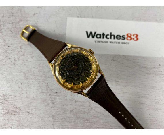 RADIANT con ESFERA ORNAMENTADA Reloj antiguo suizo de cuerda Cal. AS 1130 Plaqué OR Gran diámetro *** RAREZA ***
