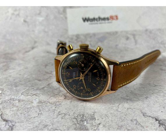 FINA Reloj cronógrafo vintage suizo de cuerda Cal Landeron 248 Dial Negro *** PRECIOSO ***