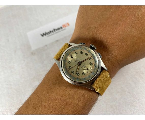TELDA by LES FILS d'ARMAND NICOLET Reloj suizo vintage de cuerda cronógrafo Cal. VENUS 170 Dial con pátina *** PRECIOSO ***