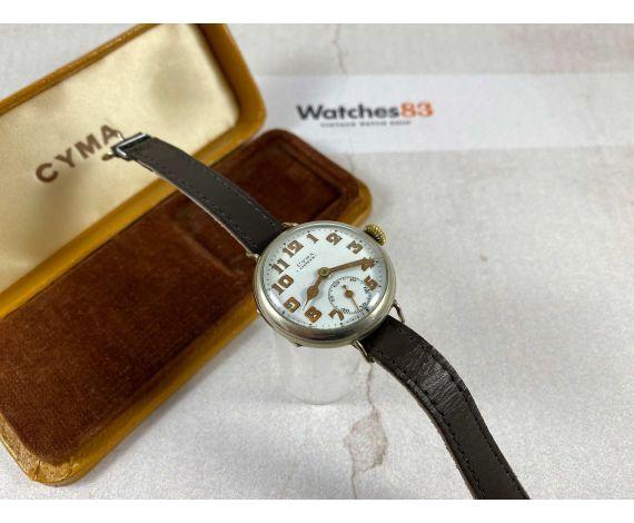 CYMA TAVANNES WATCH Co WW1 Reloj de trinchera suizo antiguo de cuerda MILITAR Dial Porcelana *** PRECIOSO ***