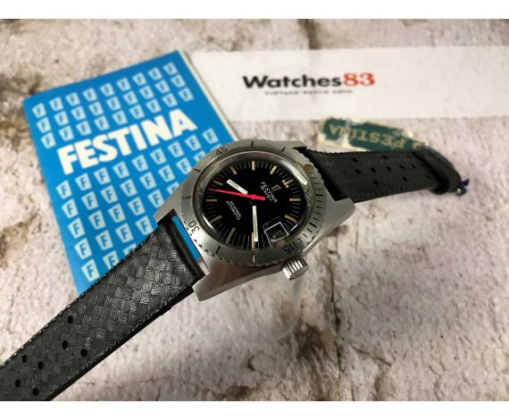 FESTINA DIVER NOS Vintage swiss automatic watch 25 Rubis 20 ATMOS Cal. ETA 2452 *** NEW OLD STOCK ***