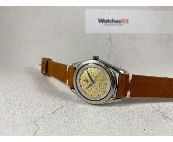 UNIVERSAL GENEVE POLEROUTER Reloj suizo Vintage automático Cal. 138SS BUMPER *** ESPECTACULAR PÁTINA ATIGRADA ***