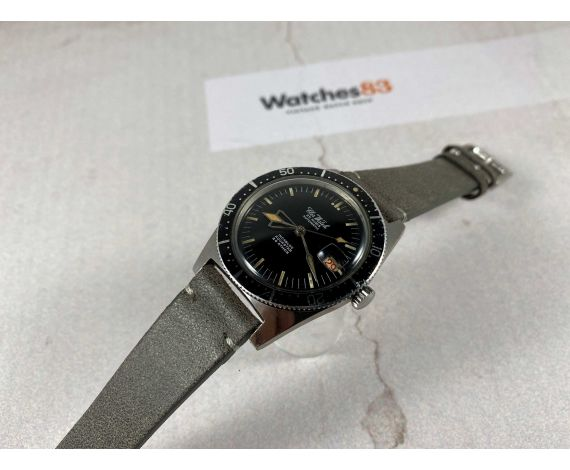 CLER WATCH AQUASTAR Vintage swiss automatic DIVER watch 20 ATM Cal. ETA 2452 Bidirectional bezel *** SPECTACULAR HANDS ***