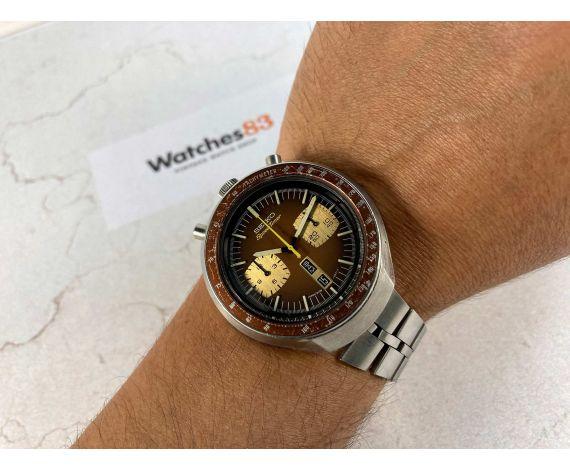 SEIKO SPEEDTIMER 1976 Reloj cronógrafo antiguo automático Cal 6138 B JAPAN J 6138-0040 BULLHEAD *** BROWN DIAL ***