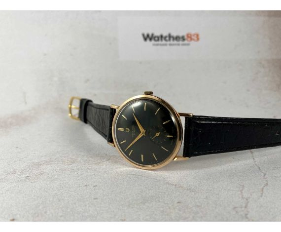 UNIVERSAL GENEVE Vintage swiss hand winding watch. Black dial. Oro 18K 0,750 Cal UG 330 *** COLLECTORS ***