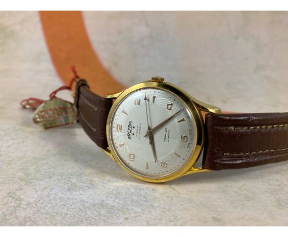 NOS ARCADIA Reloj suizo antiguo automático Plaqué OR. OVERSIZE. Segundero Central Cal. Felsa 1560 *** NUEVO ANTIGUO STOCK ***
